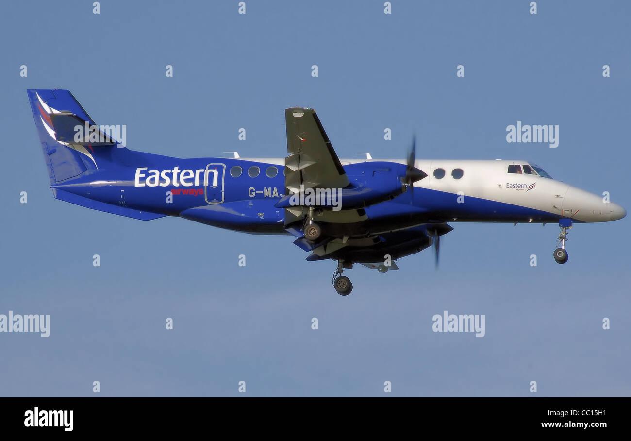 British Aerospace Jetstream 41 (G-MAJX) lands at Birmingham International Airport, England. - Stock Image