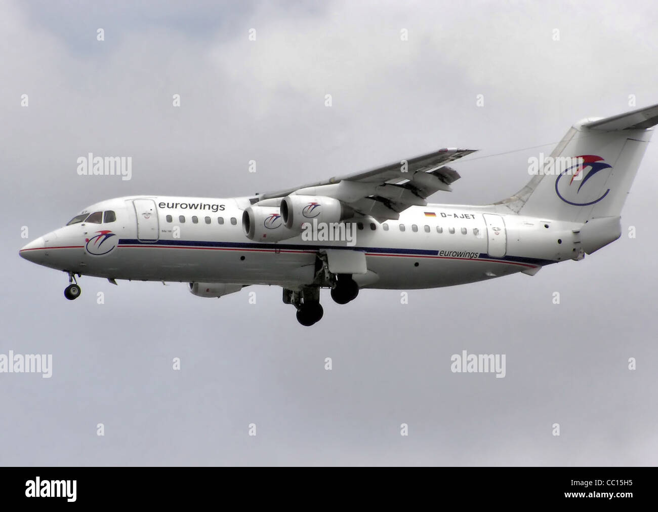 Eurowings BAe 146-200 (D-AJET) landing at London Heathrow Airport, England. - Stock Image