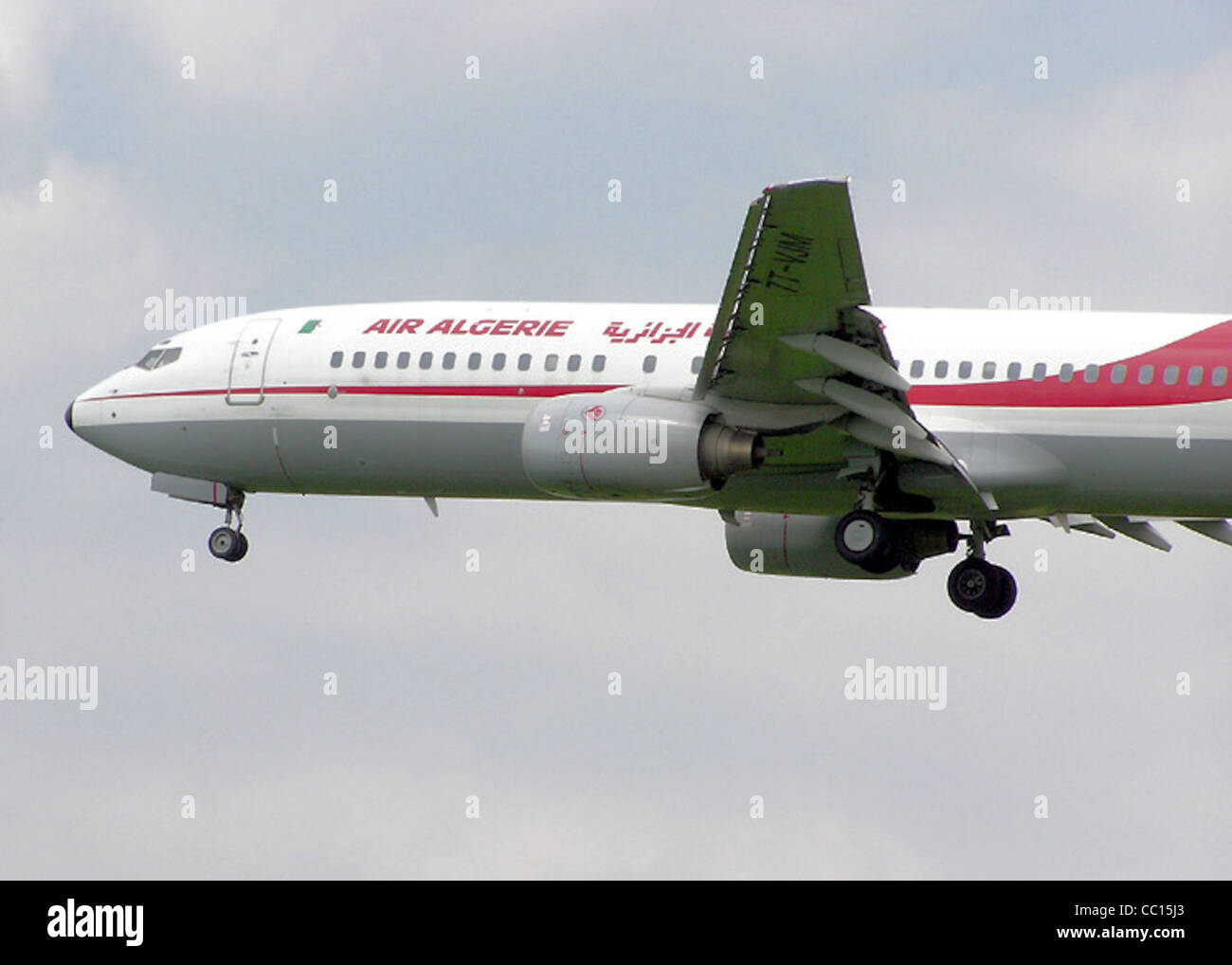 Air Algerie Boeing 737-800 (7T-VJM) landing at London (Heathrow) airport. - Stock Image