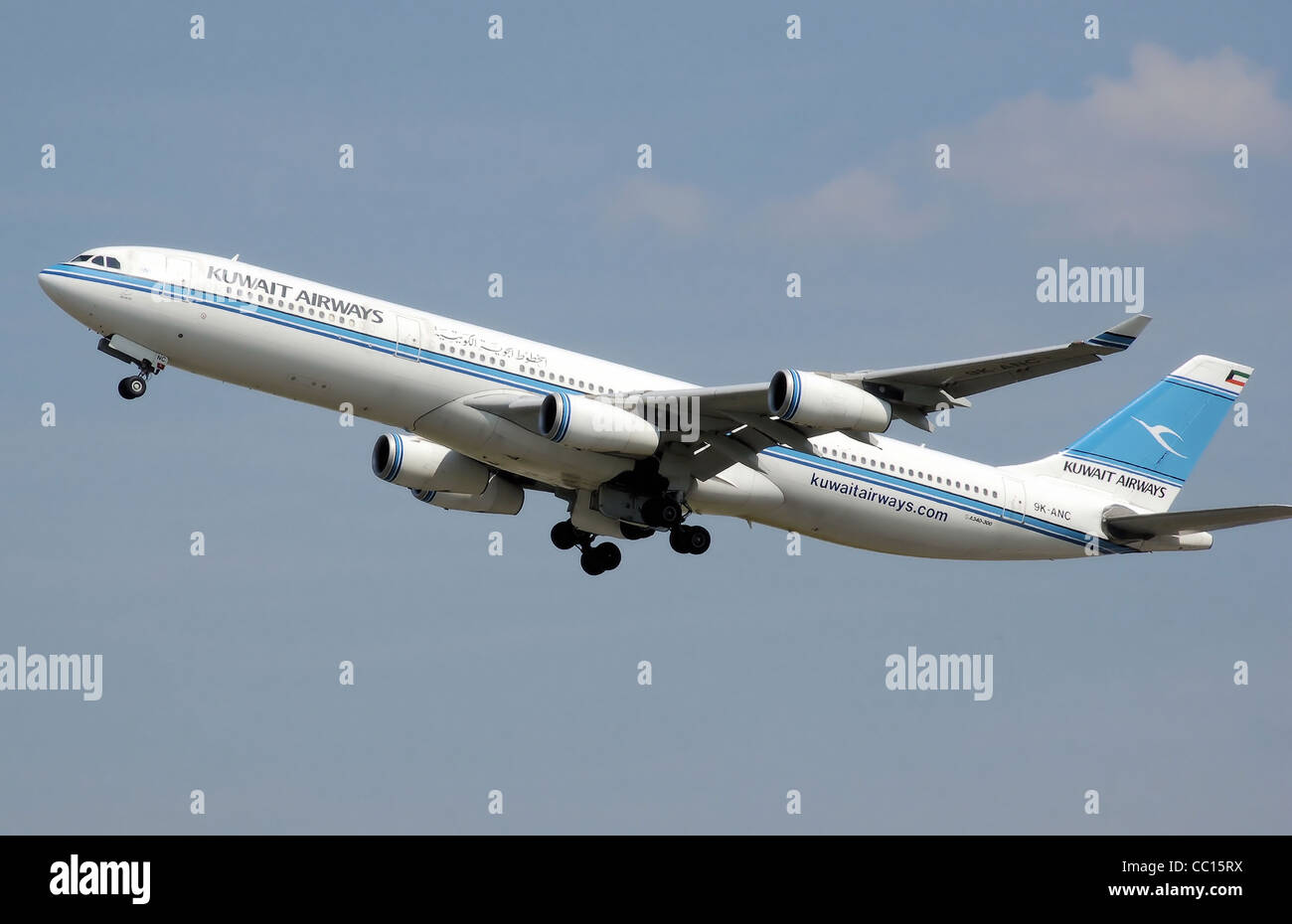 Kuwait Airways Airbus A340-300 (9K-ANC) takes off from London Heathrow Airport - Stock Image