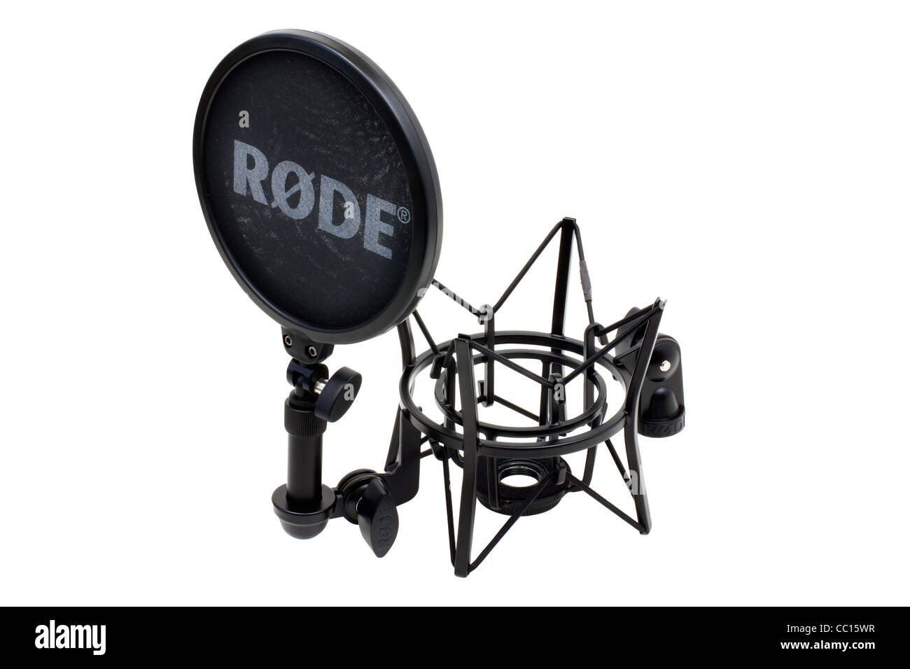 Product rode mic shock mount spider on white retail shots against pure white background photographed under studio - Stock Image