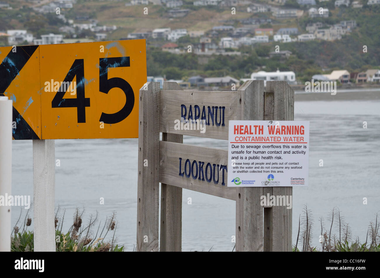 Contaminated water sign Rapanui Lookout New Zealand - Stock Image