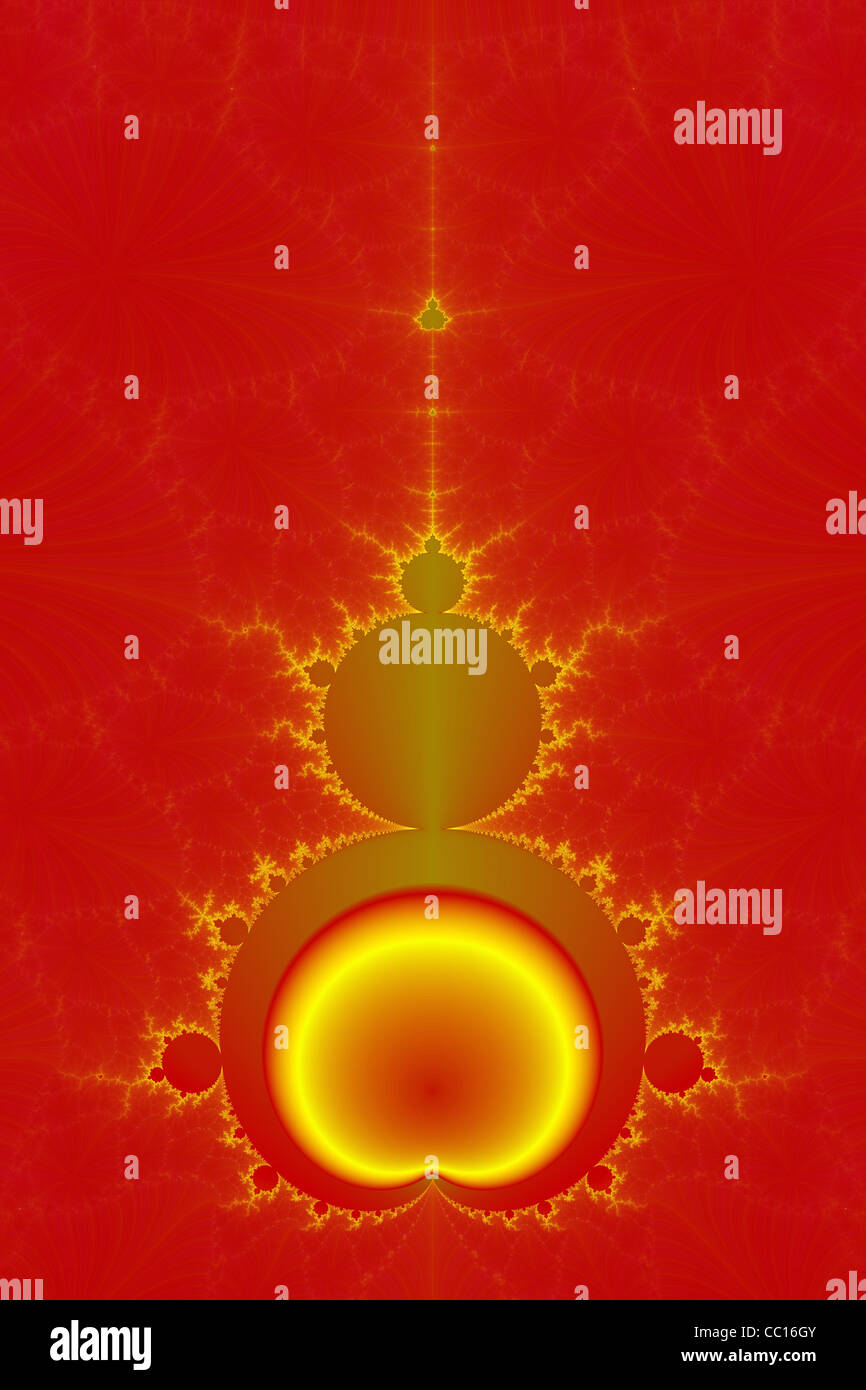 Mandelbrot in Red and Yellow - Stock Image
