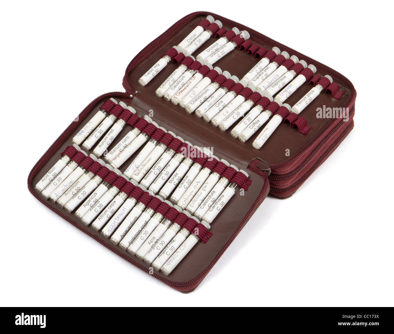 midwifes equipment. many homeopathic globule ordered by name. No product names, just common names of homeopathic - Stock Image