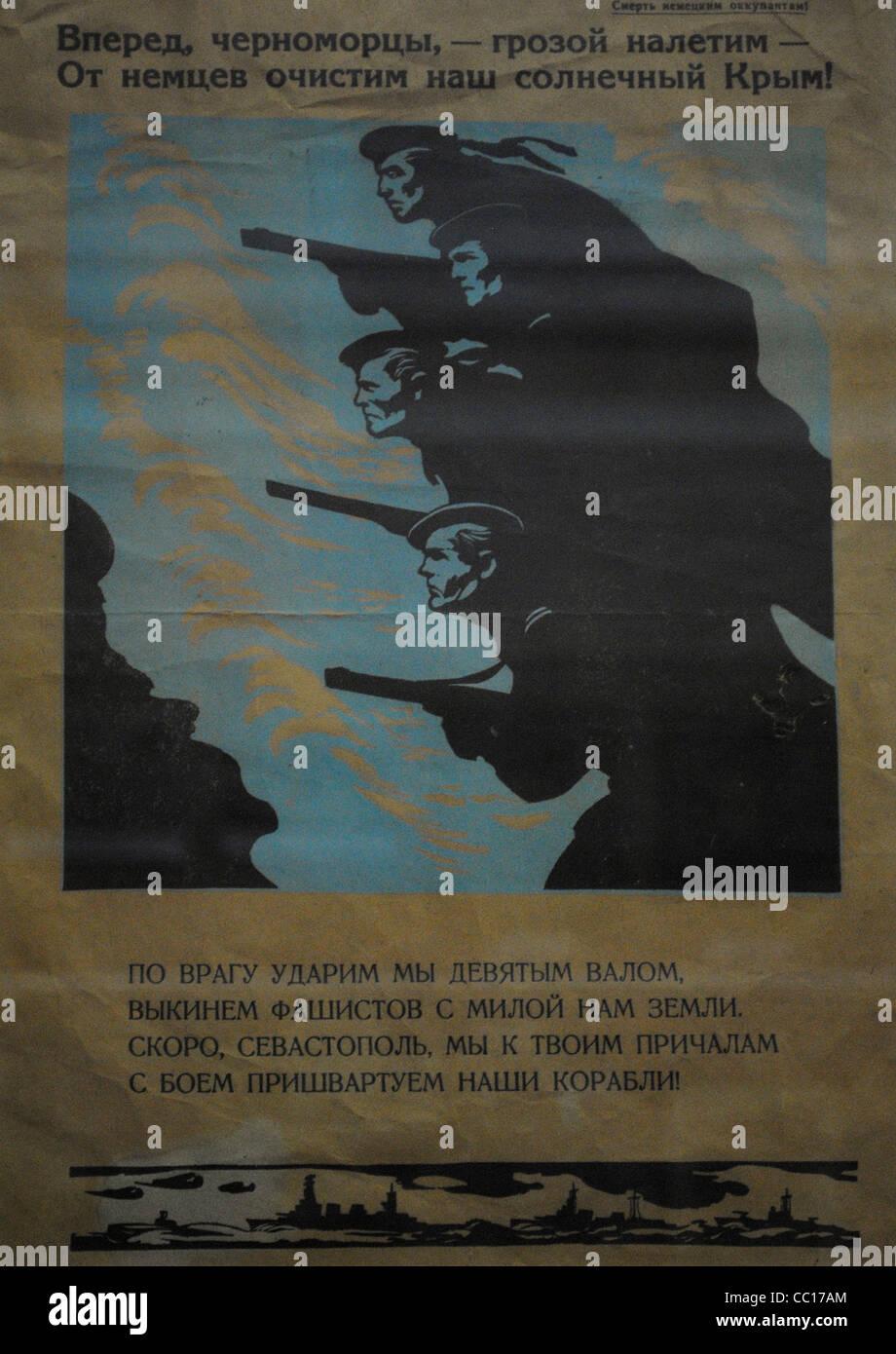Second World War. Poster of the Russian army. Museum of Black Sea Fleet. Sevastopol. Crimean Peninsula. Ukraine. - Stock Image