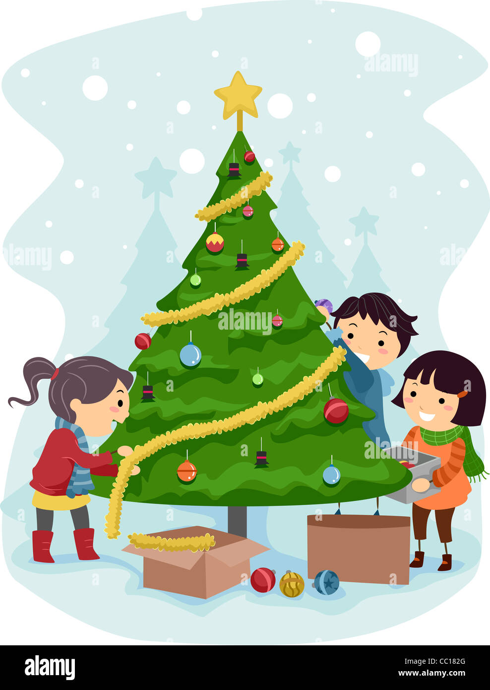 Illustration of Kids Decorating a Christmas Tree Stock Photo ...