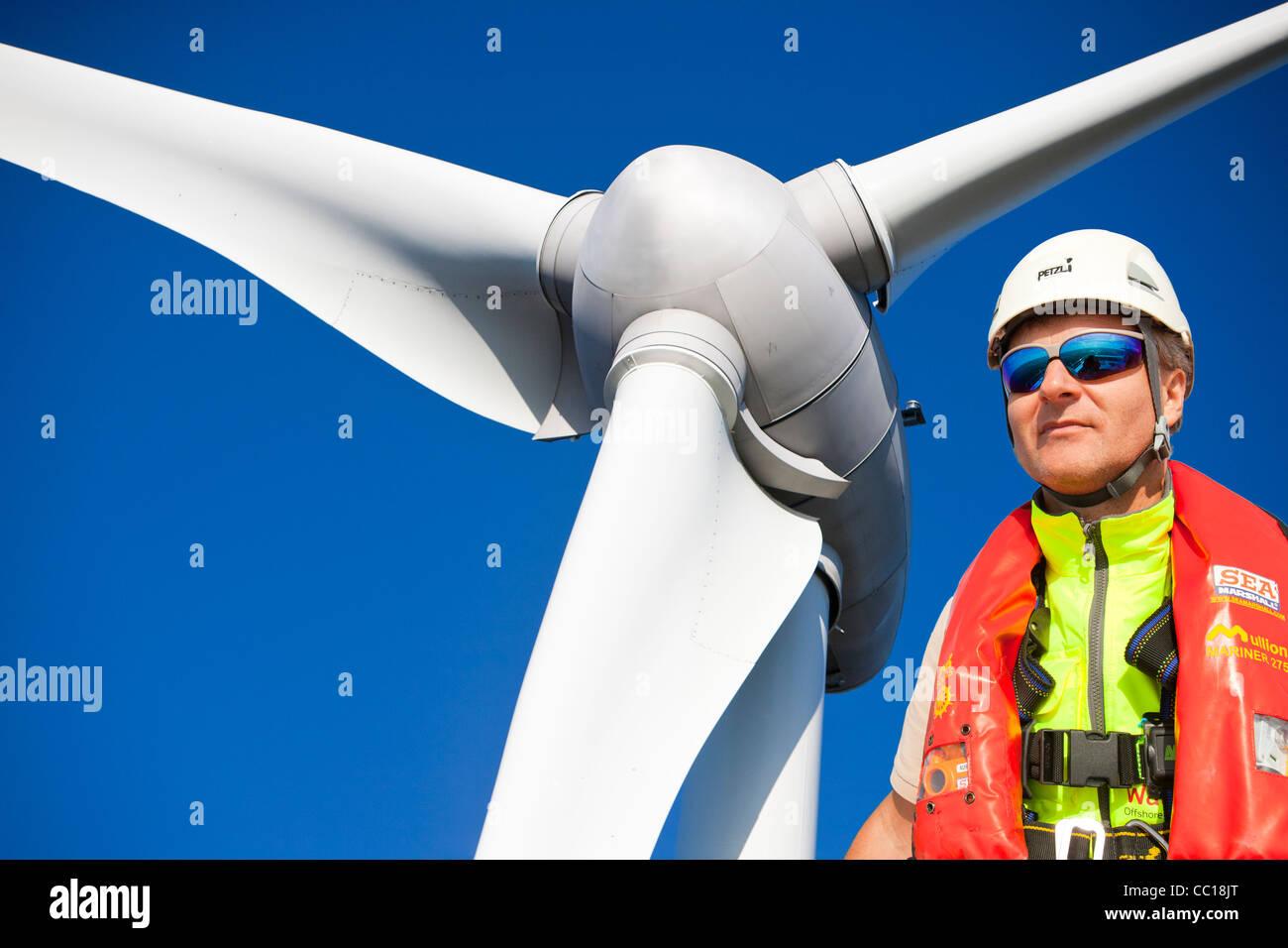 An Enercon 2.3 MW wind turbine on Flotta in the Orkney isles, Scotland, UK. Stock Photo