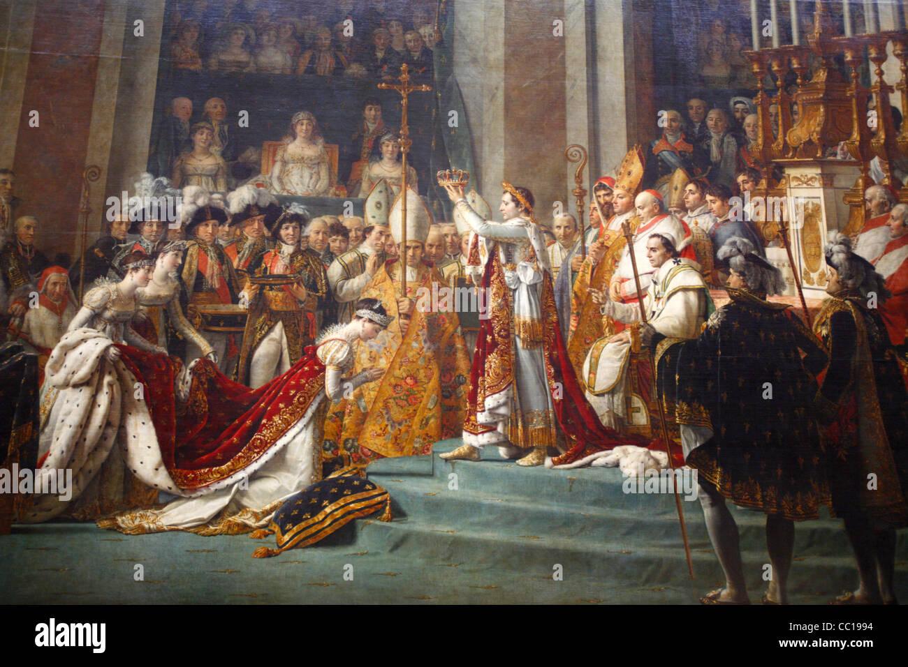 The coronation of Napoleon painting, Louvre Museum, Paris, France - Stock Image