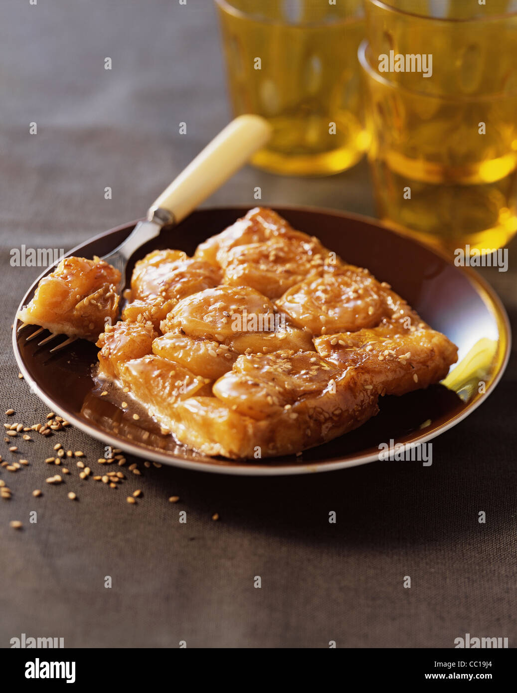 Apricots Tatin Pie with Sesame Seeds - Stock Image
