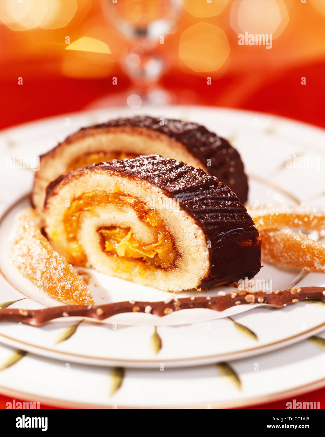 Orange Yule Log - Stock Image