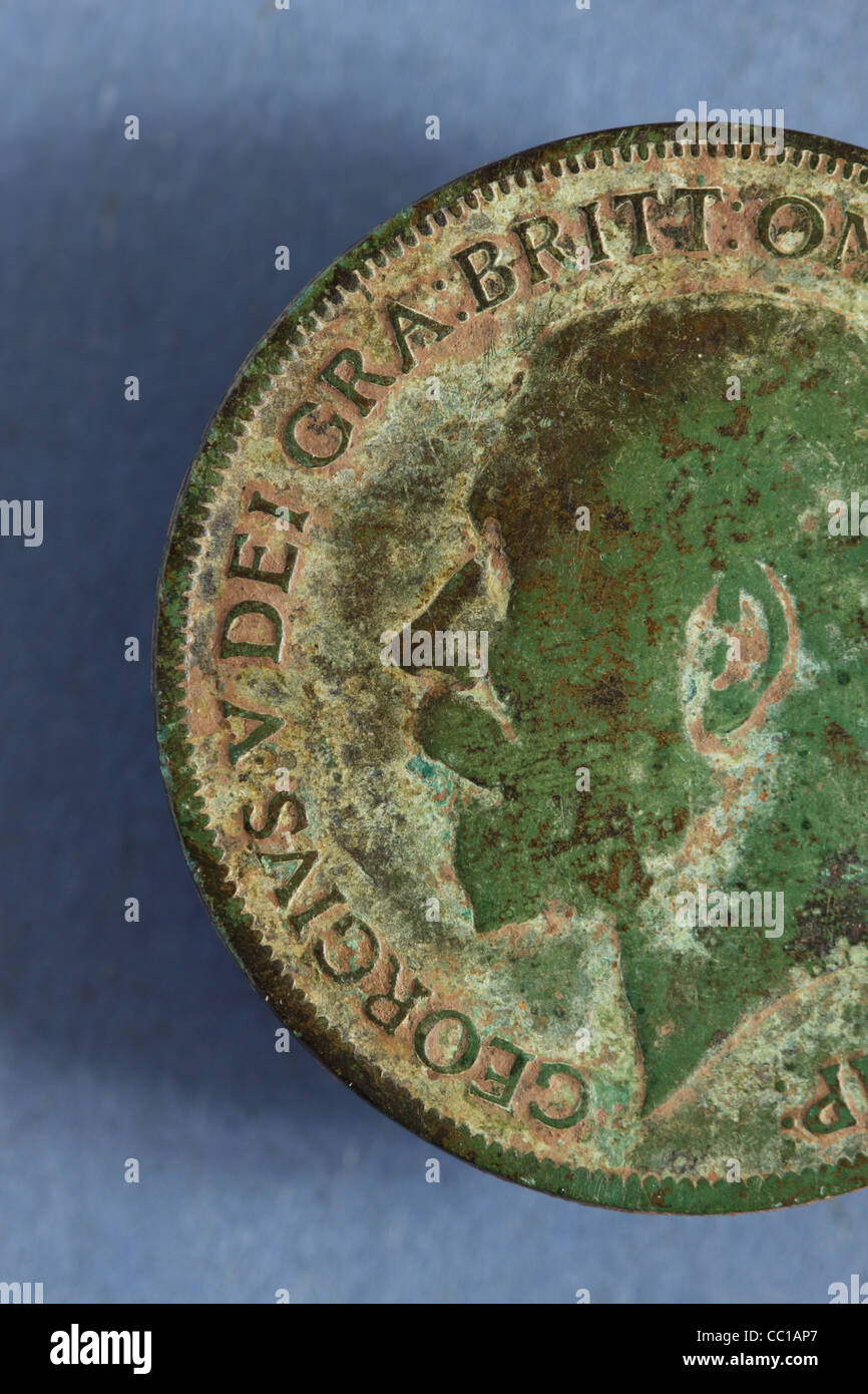 King George V old penny coin from 1910 - Stock Image
