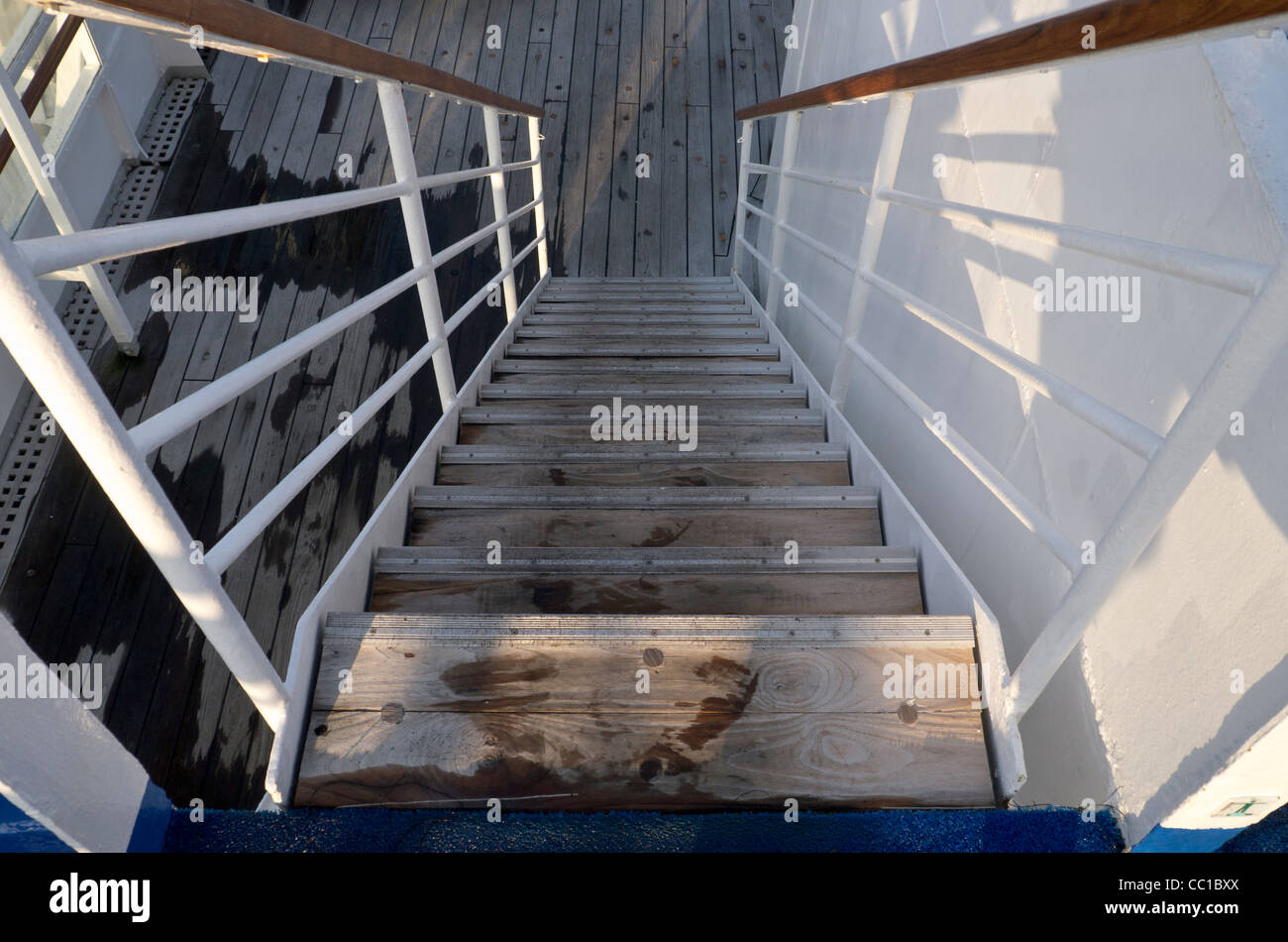 Outside staircase connecting decks aboard the cruise ship MS Boudicca - Stock Image