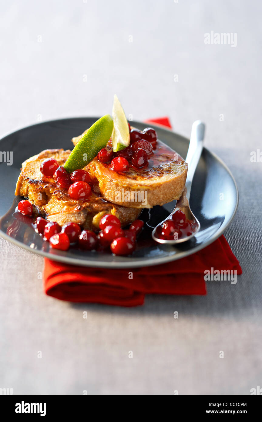 French Toast with Cranberry - Stock Image