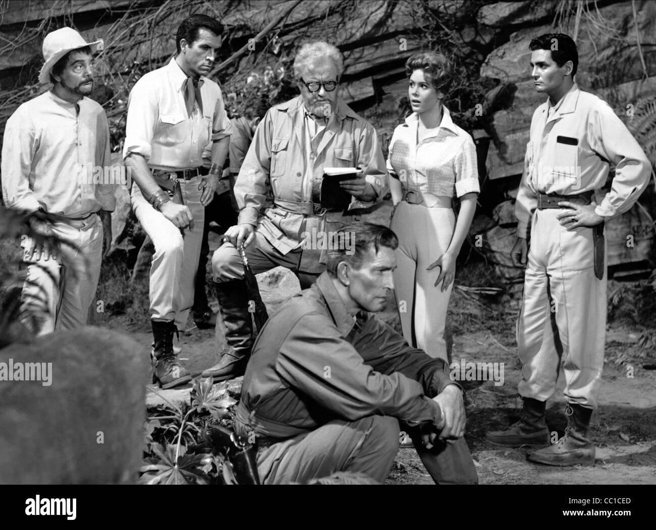 JAY NOVELLO FERNANDO LAMAS CLAUDE RAINS JILL ST. JOHN & DAVID HEDISON THE LOST WORLD (1960) - Stock Image