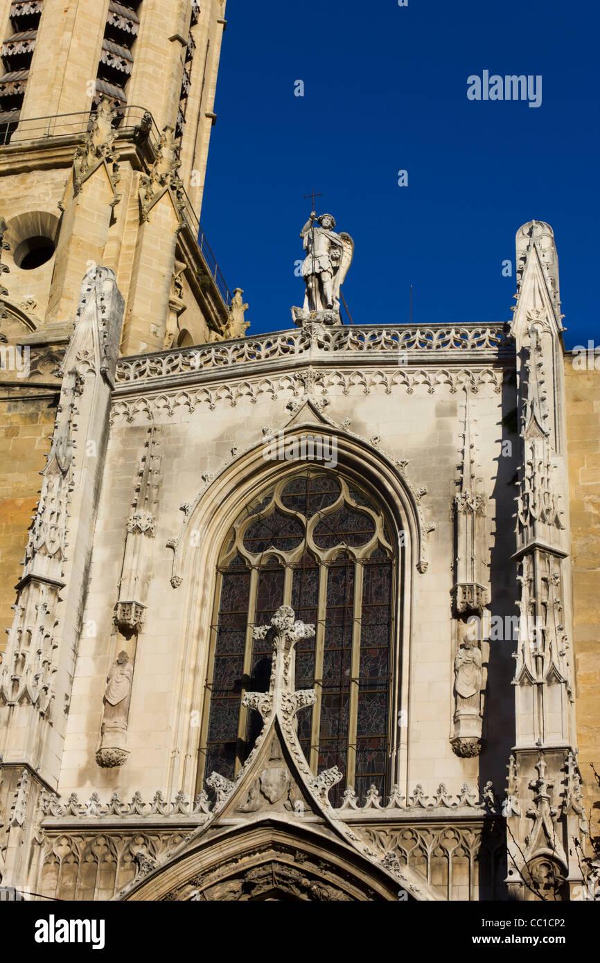 detail of facade, Aix Cathedral (Cathédrale Saint-Sauveur d'Aix), Aix-en-Provence, France - Stock Image