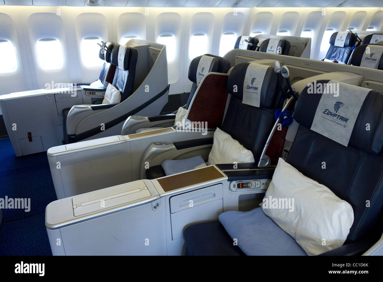 Egypt Air business class cabin, Boeing 777 - Stock Image