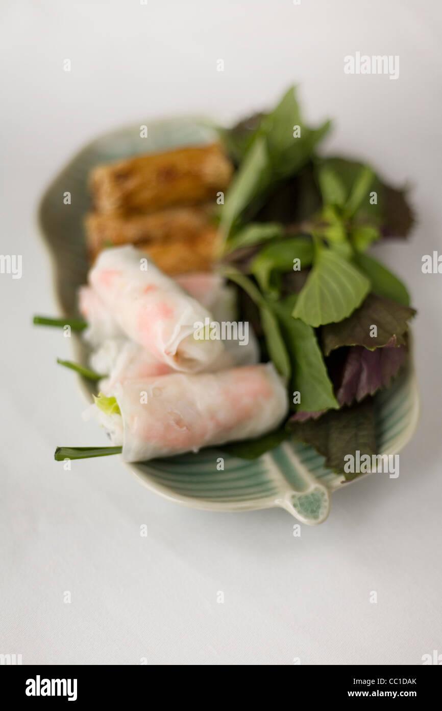 A selection of Spring Rolls, at the Saigon Hyatt Hotel, Ho Chi Minh City, Vietnam - Stock Image