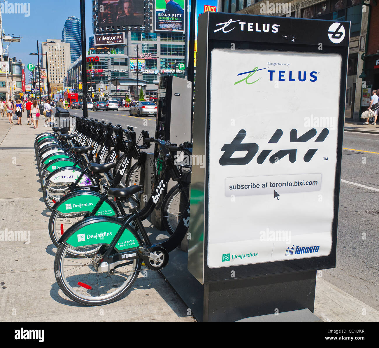 BIXI Public bicycles Docking Terminal on Yonge Street in Toronto, Ontario. - Stock Image