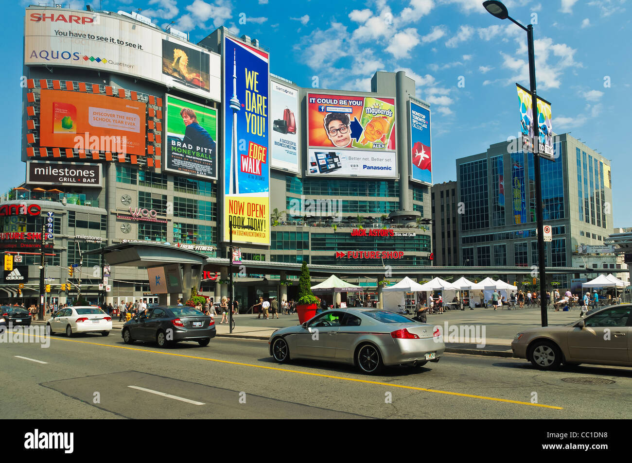 Advertising Billboards at Yonge-Dundas Square,in downtown Toronto, Ontario,Canada - Stock Image
