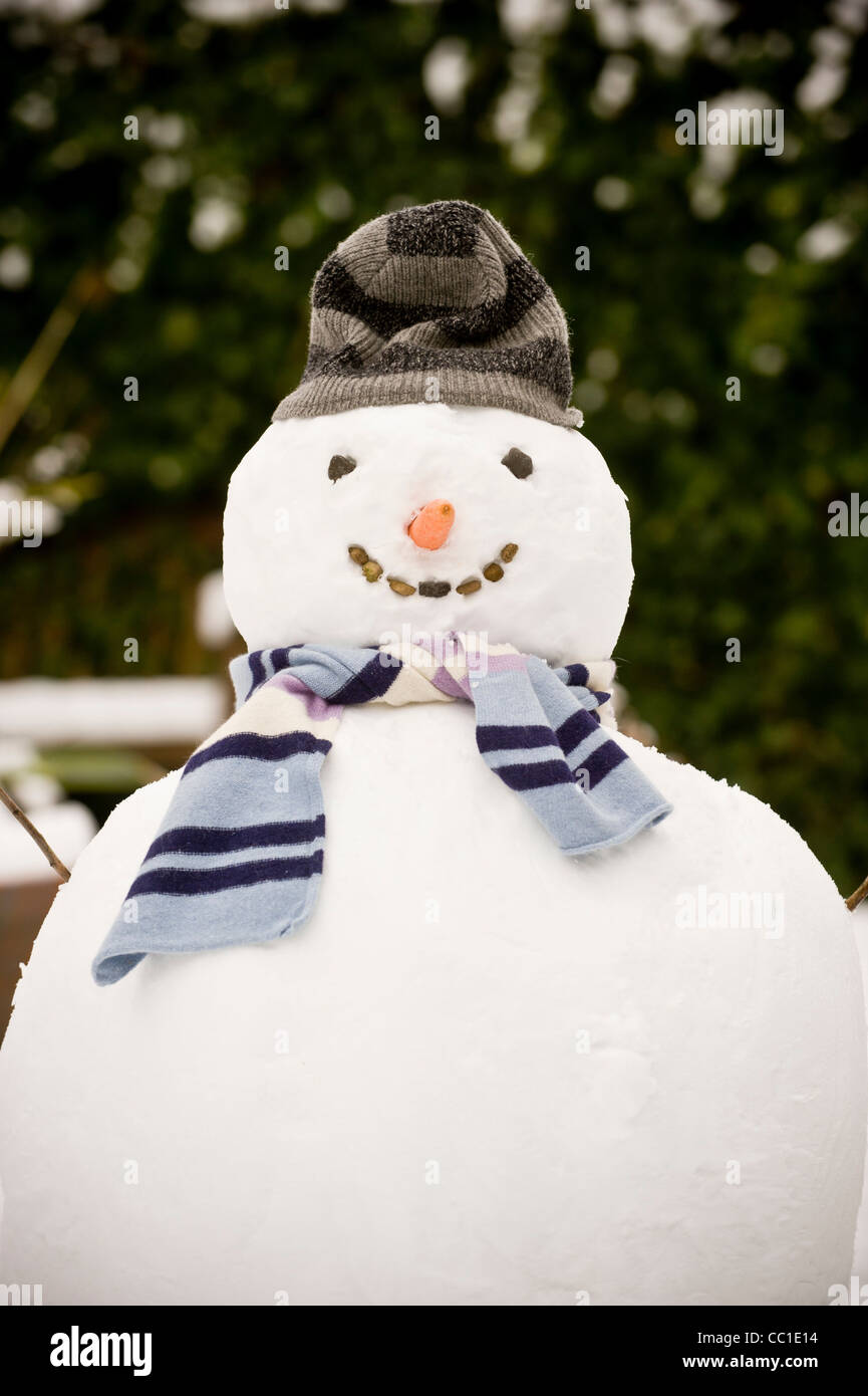Snowman in garden - Stock Image