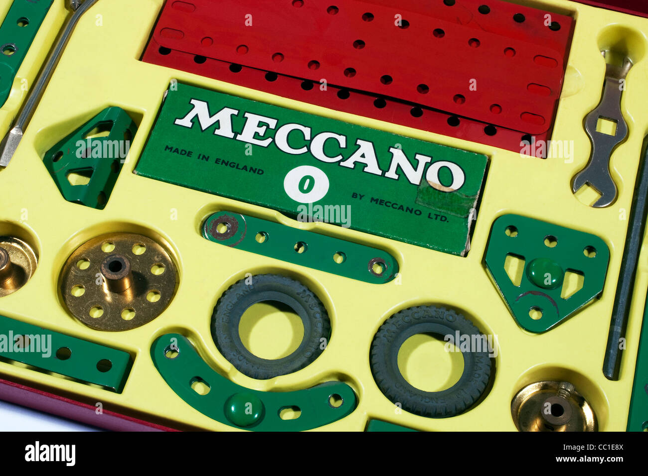 Meccano construction parts used to build working models and mechanical devices invented by Frank Hornby in 1901 - Stock Image
