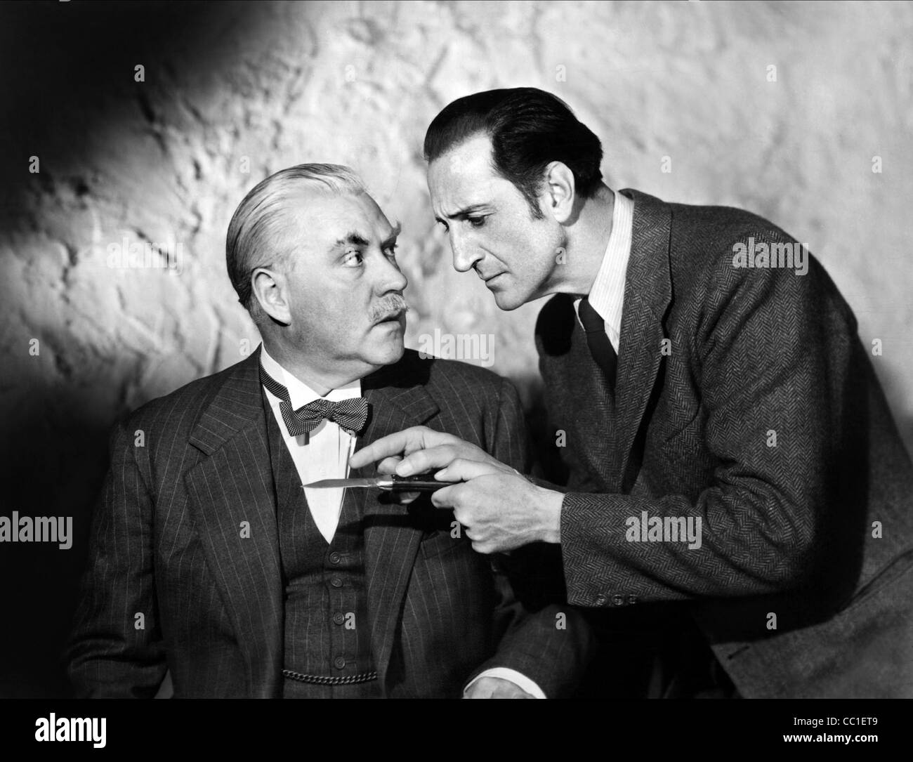 NIGEL BRUCE, BASIL RATHBONE, THE SCARLET CLAW, 1944 - Stock Image