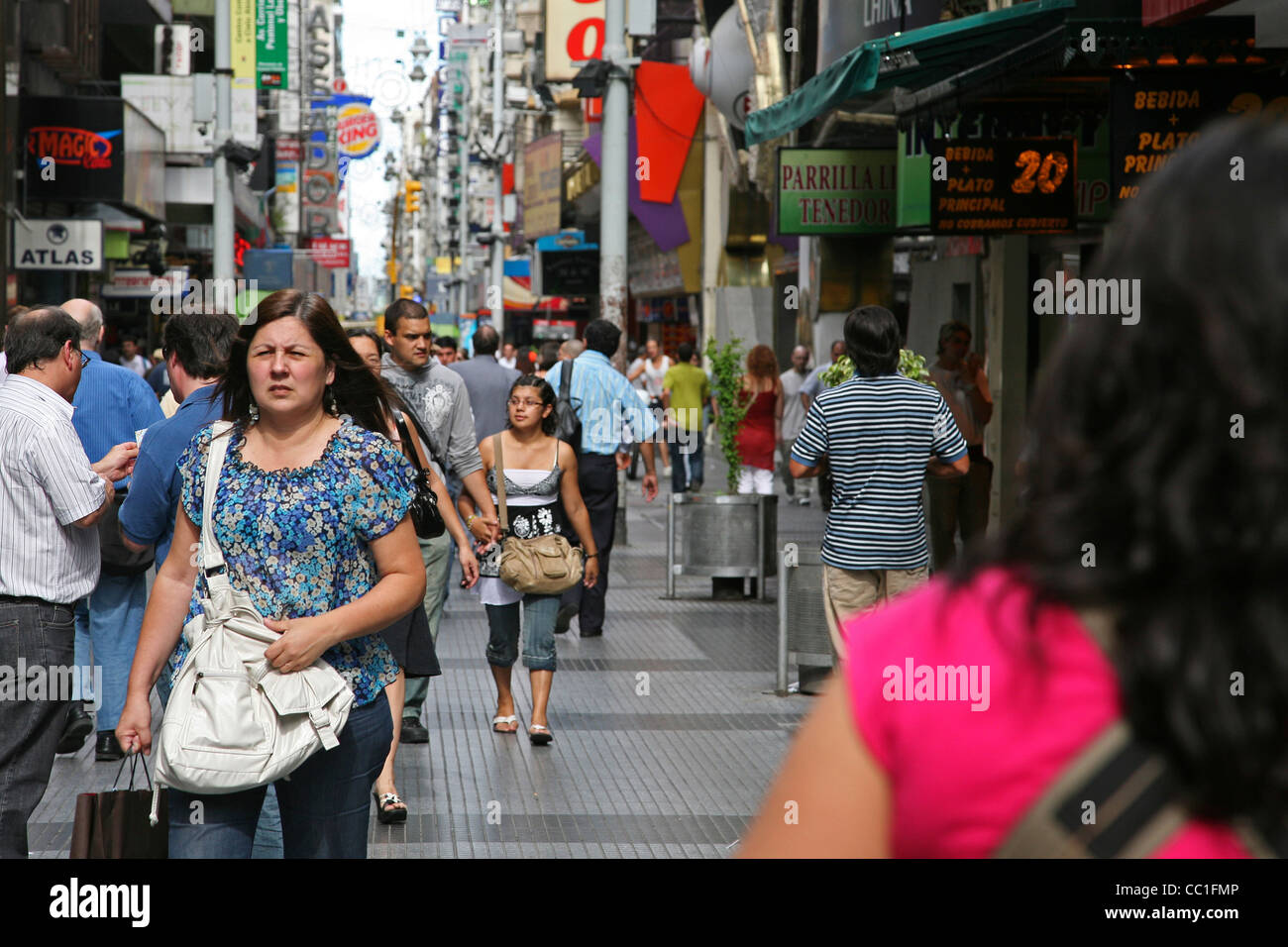 Florida Street / Calle Florida, an elegant shopping street in Downtown Buenos Aires, Argentina - Stock Image