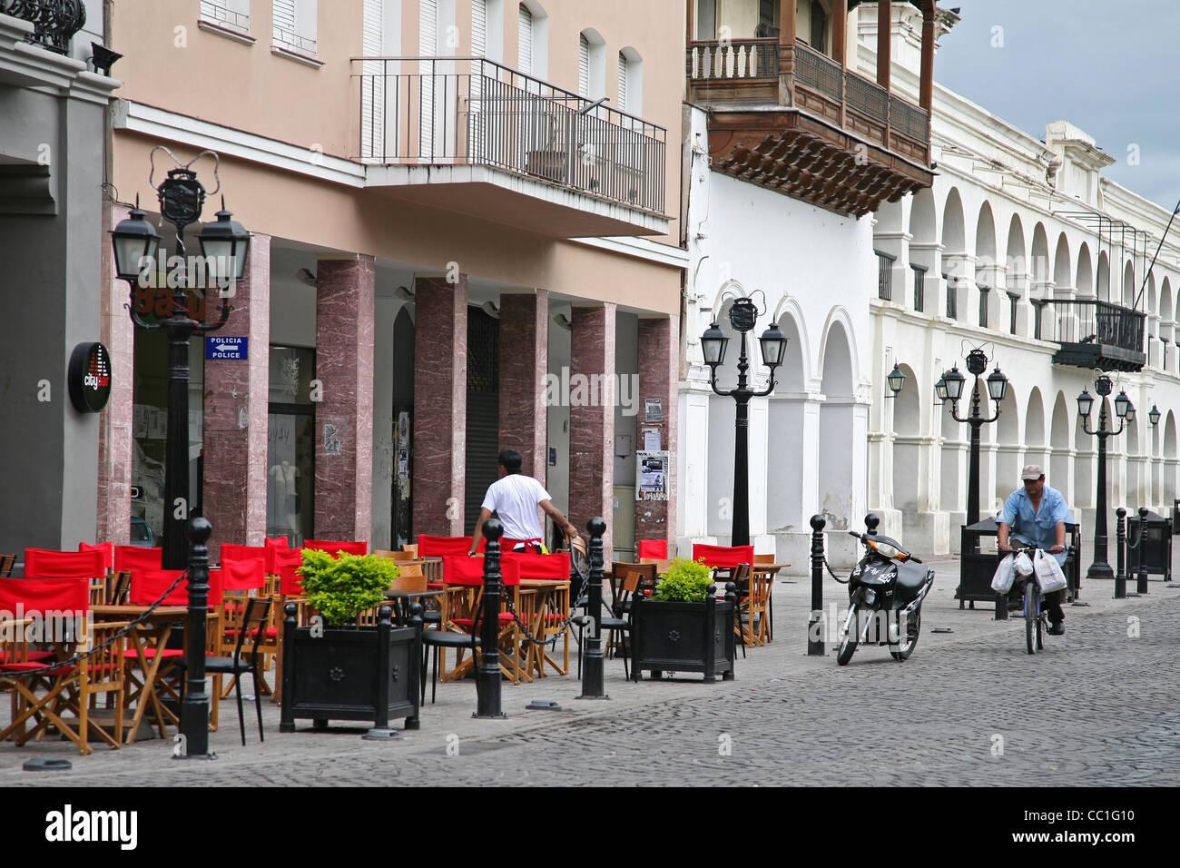 Restaurant along the Ninth of July Plaza / plaza 9 de julio, Salta, Argentina - Stock Image