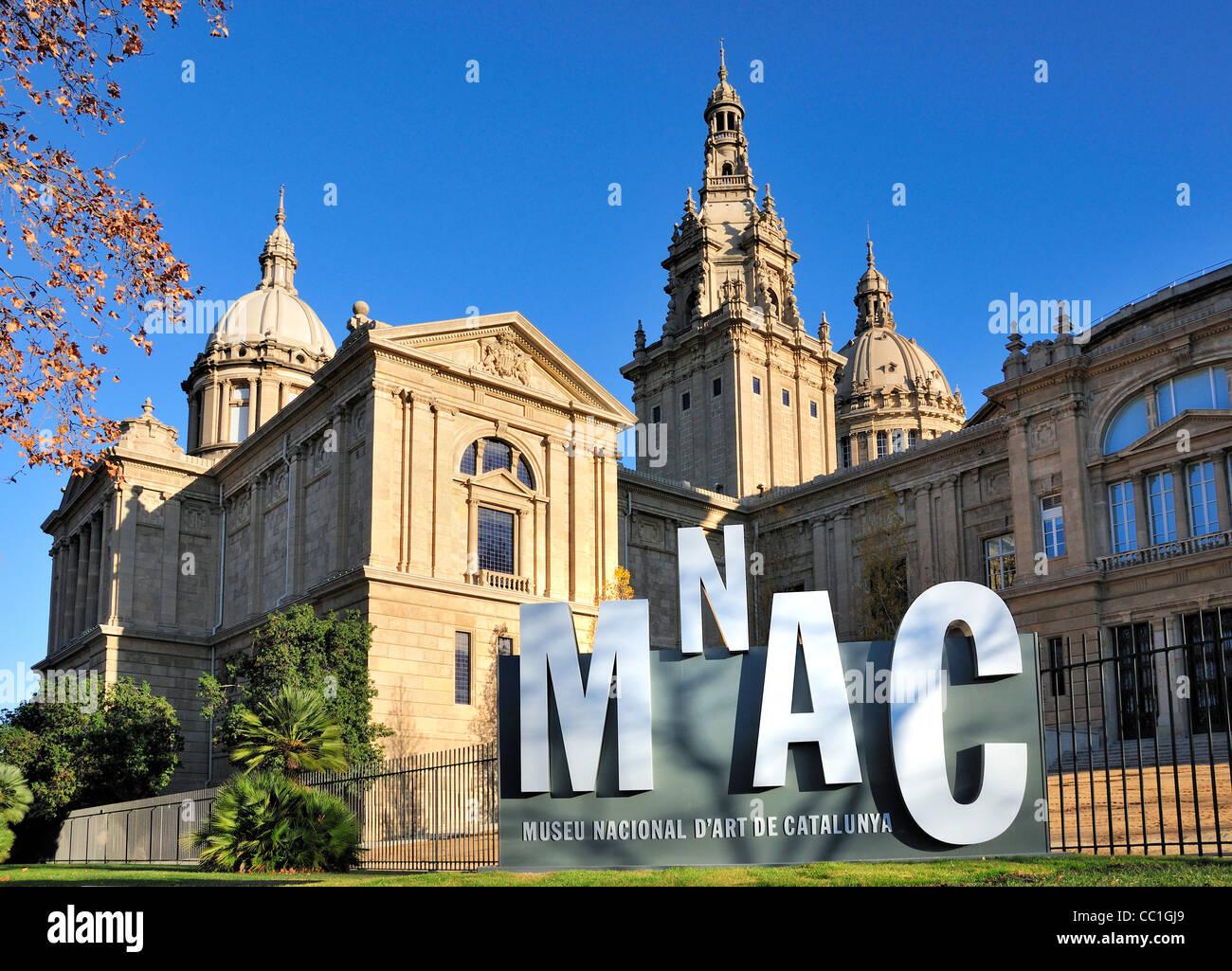 Barcelona, Spain. MNAC - Museu Nacional D'Art de Catalunya in the Palau Nacional on Montjuic Hill - Stock Image