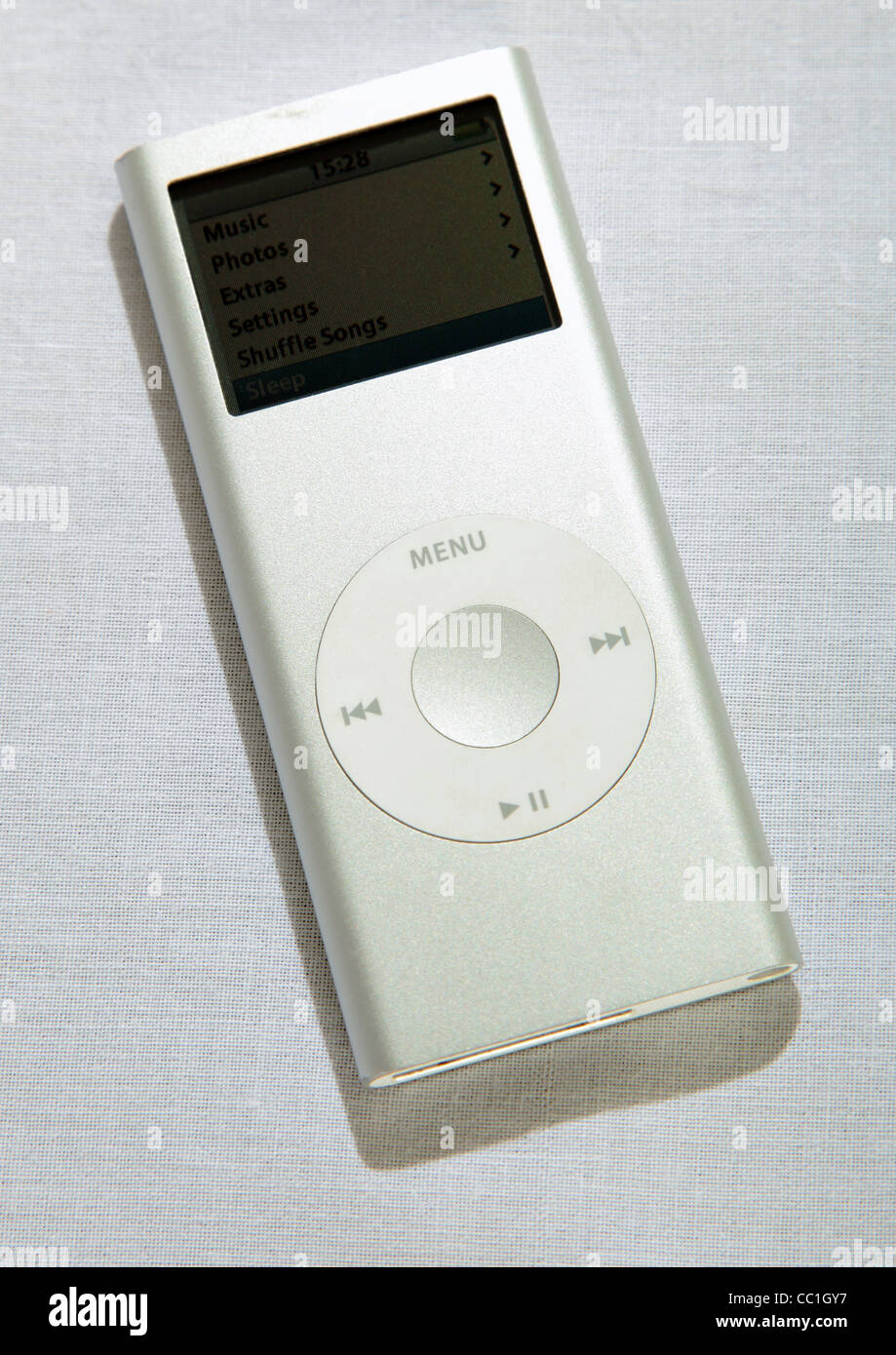 old version of silver apple ipod nano 4gb on white background