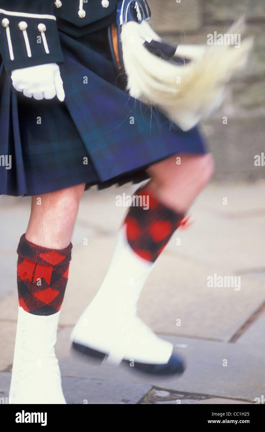 Slow motion Scotsman in a kilt with moving sporran Scotland GB UK EU Europe - Stock Image