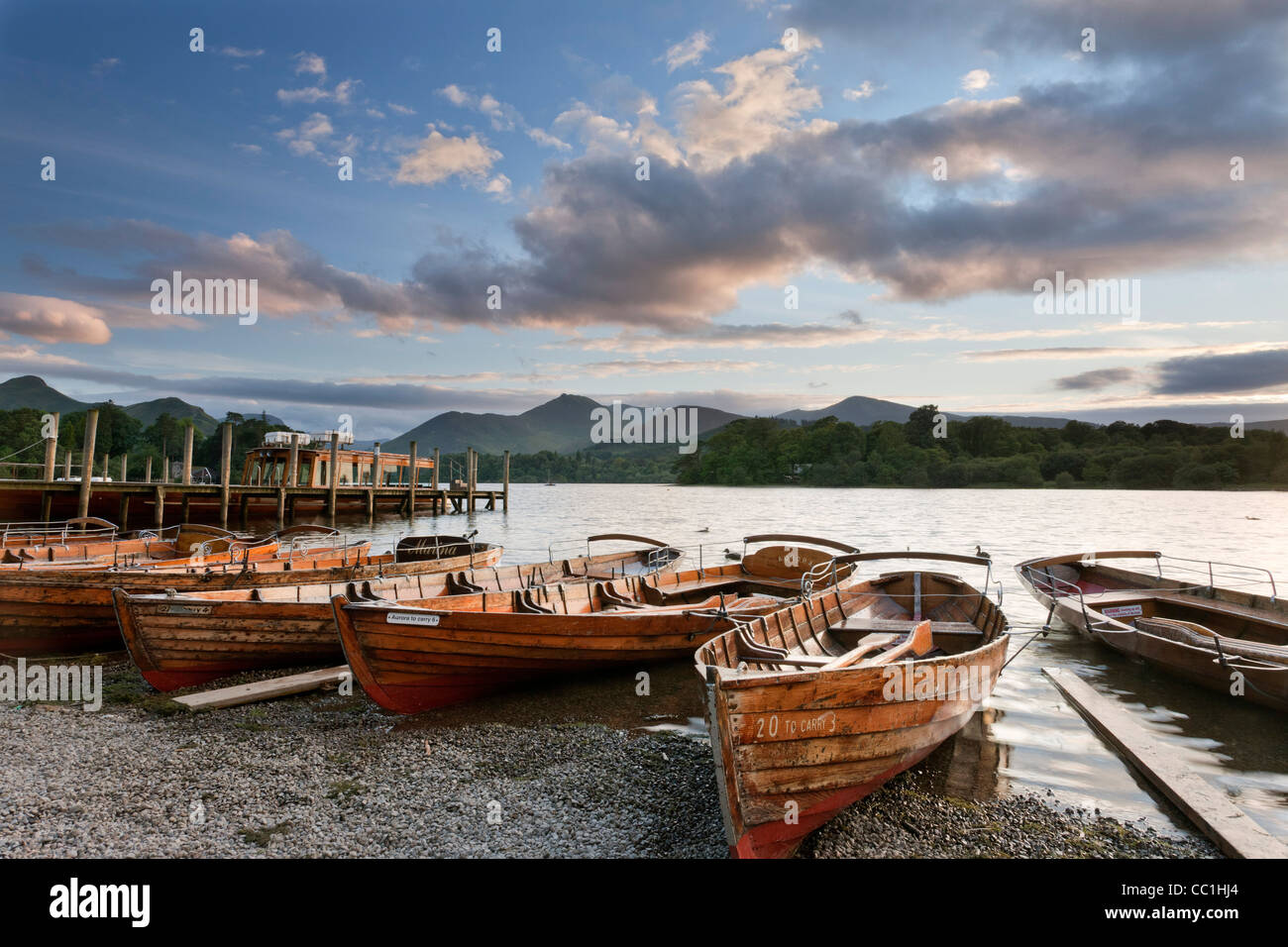 Rowing boats and jettys at Keswick, Lake Derwent Water, Cumbria, England, Europe. - Stock Image