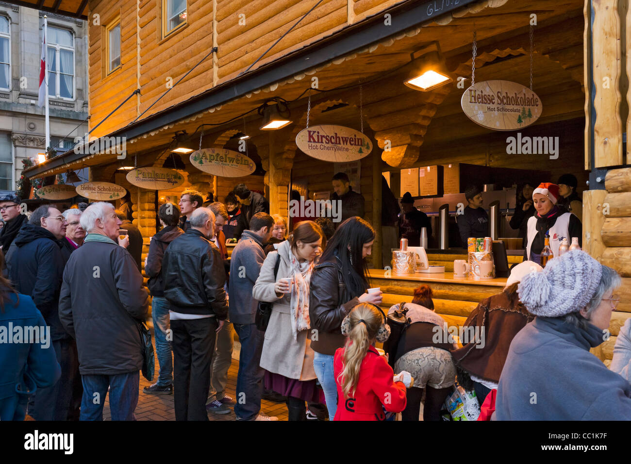 Bar selling seasonal drinks at the Frankfurt German Christmas Market, Victoria Square, Birmingham, UK - Stock Image