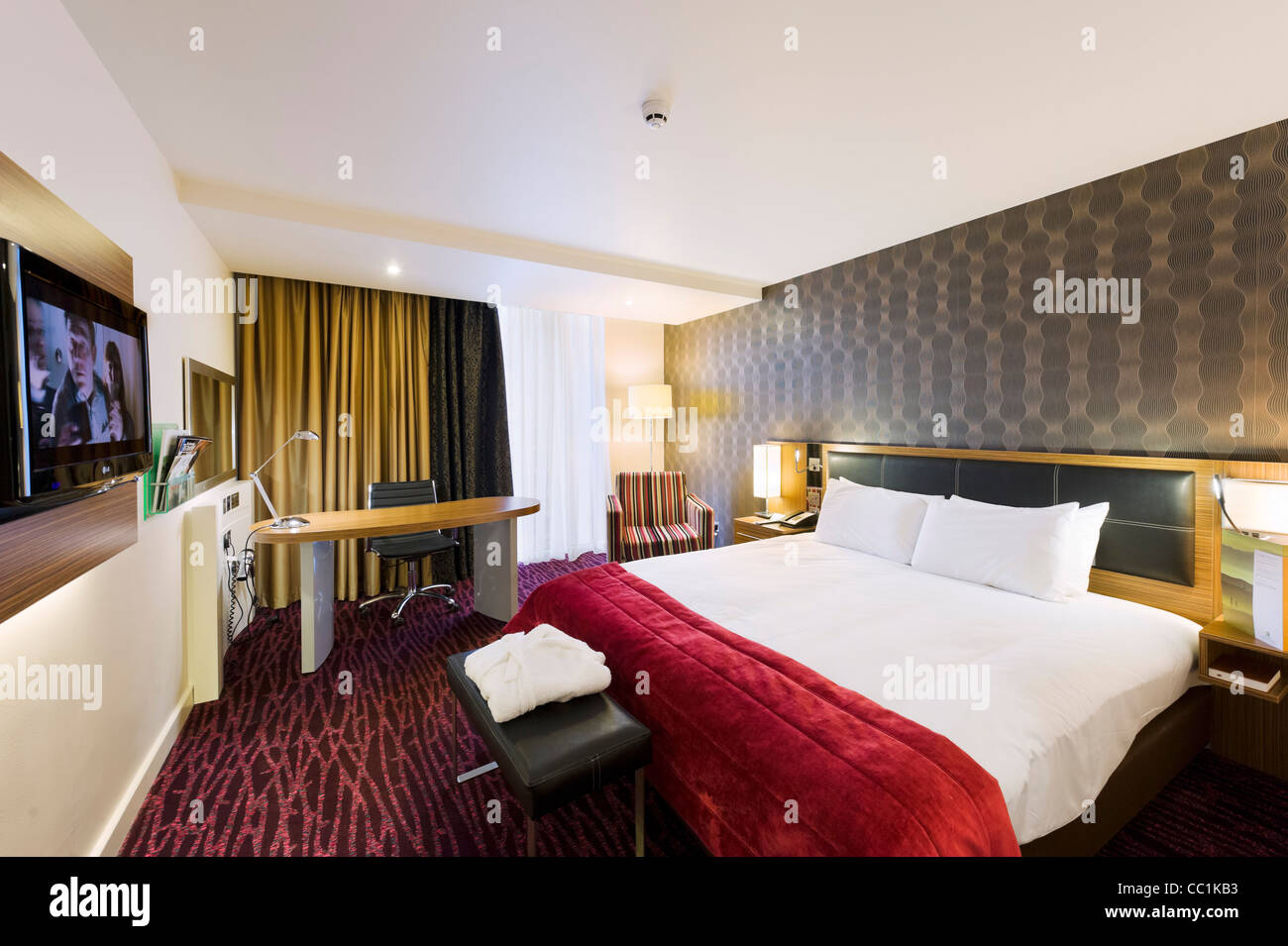 Executive room at the Holiday Inn, Media City, Salford Quays, Manchester, UK - Stock Image