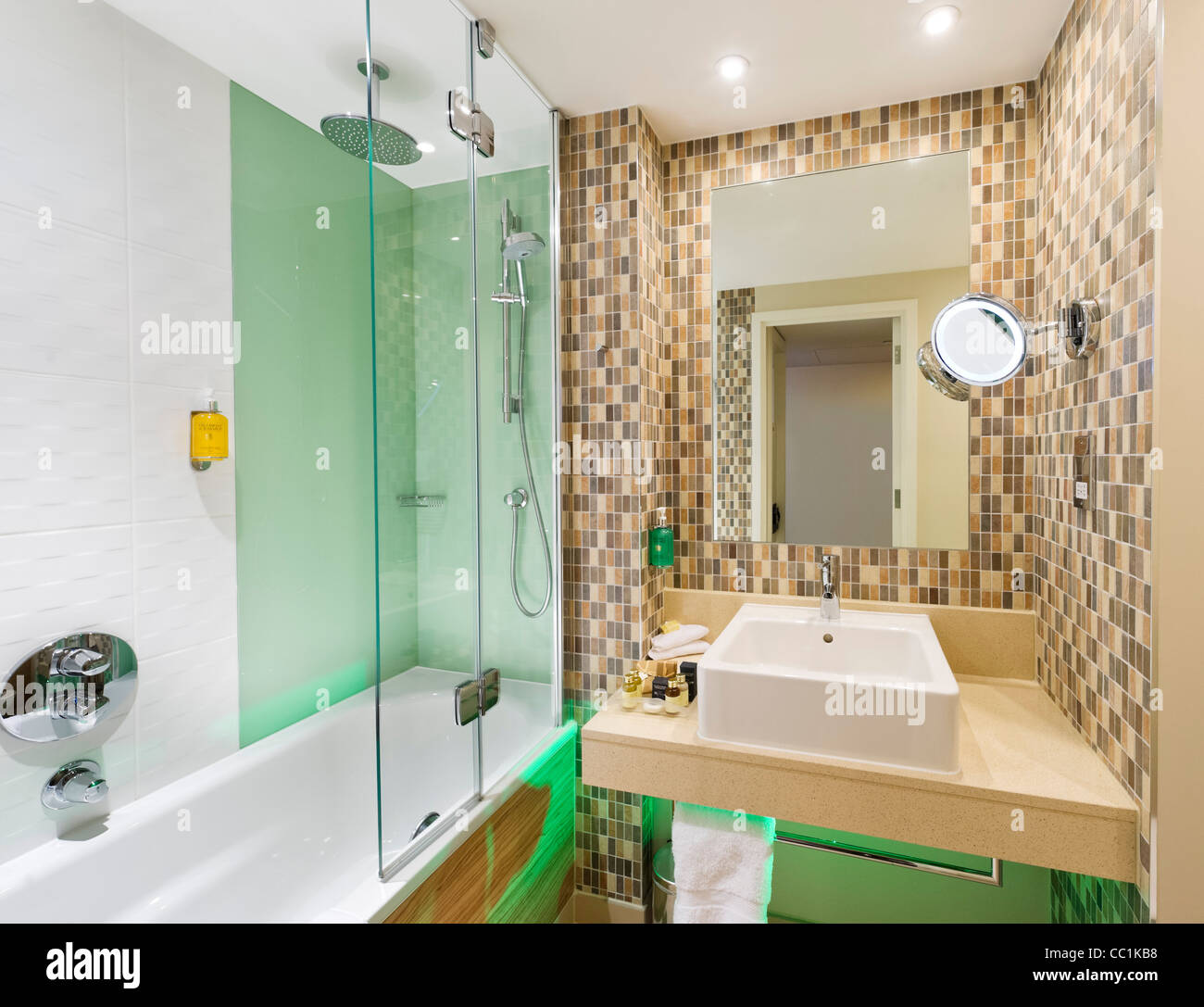 Bathroom in an Executive Room at the Holiday Inn, Media City, Salford Quays, Manchester, UK - Stock Image