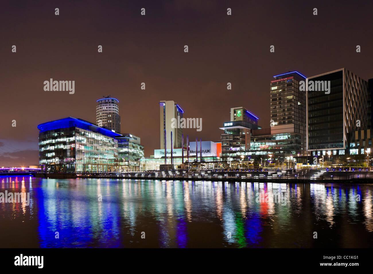 MediaCityUK at night, Salford Quays, Manchester, UK - Stock Image
