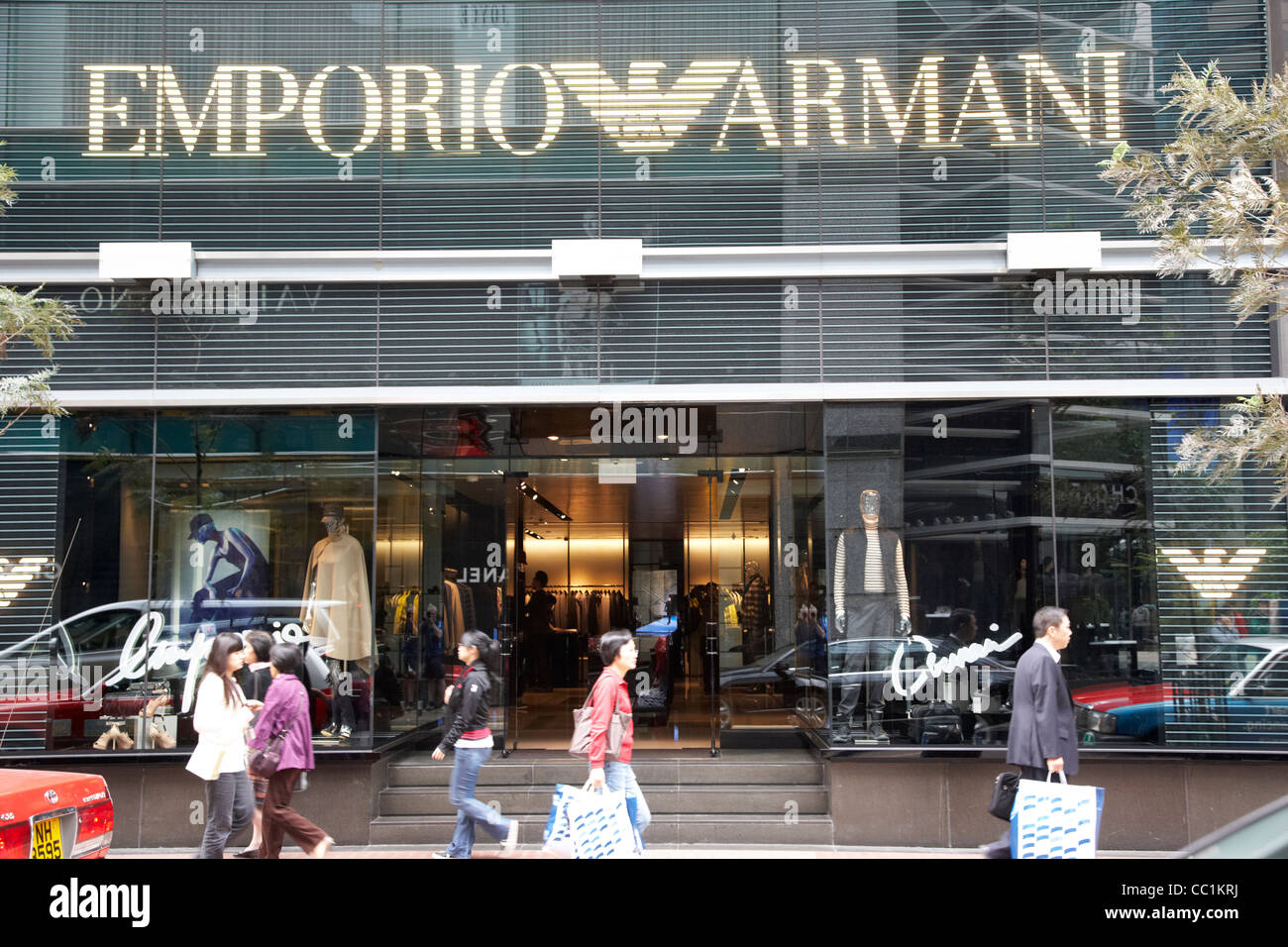 emporio armani store on affluent expensive luxury shopping area hong kong hksar china asia - Stock Image