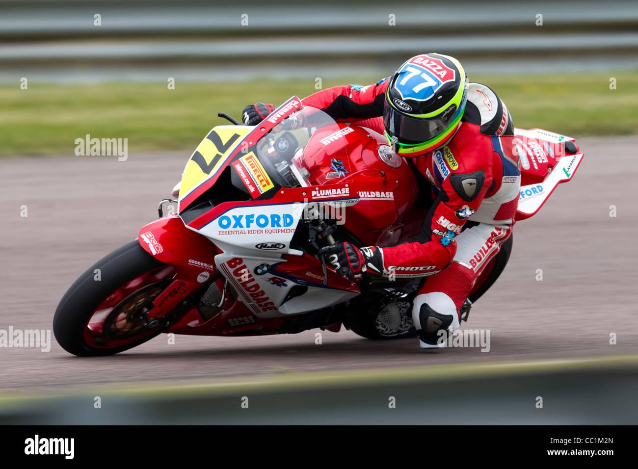 British Superbike Rider Barry Burrell riding a BMW S1000 RR. - Stock Image