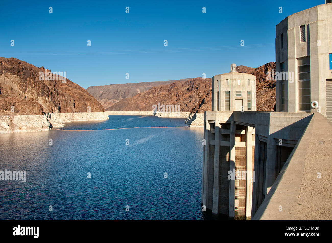 Hoover Dam and Lake Mead near Boulder City, Nevada Stock Photo