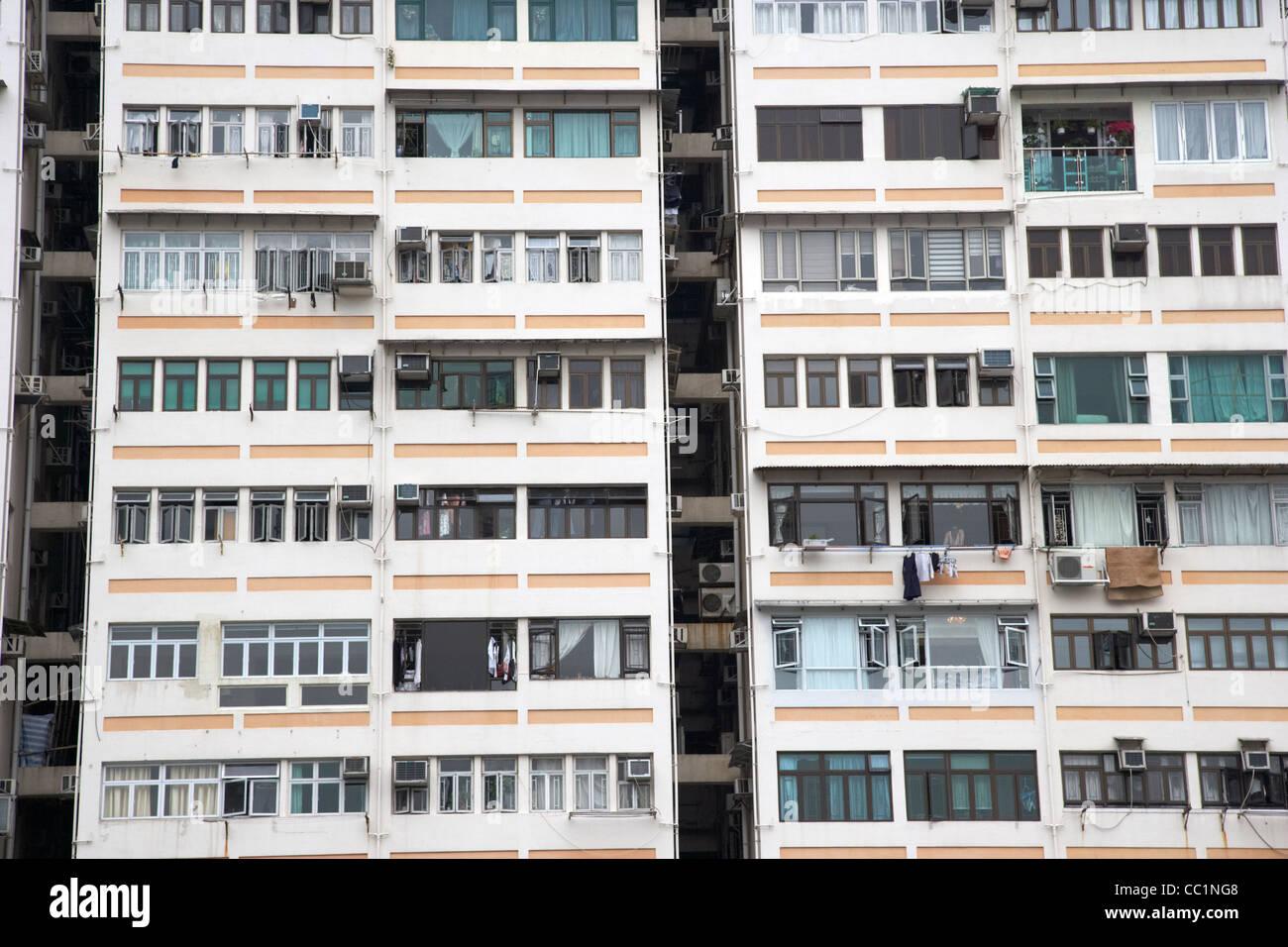 dense closely packed apartments in hong kong hksar china asia - Stock Image