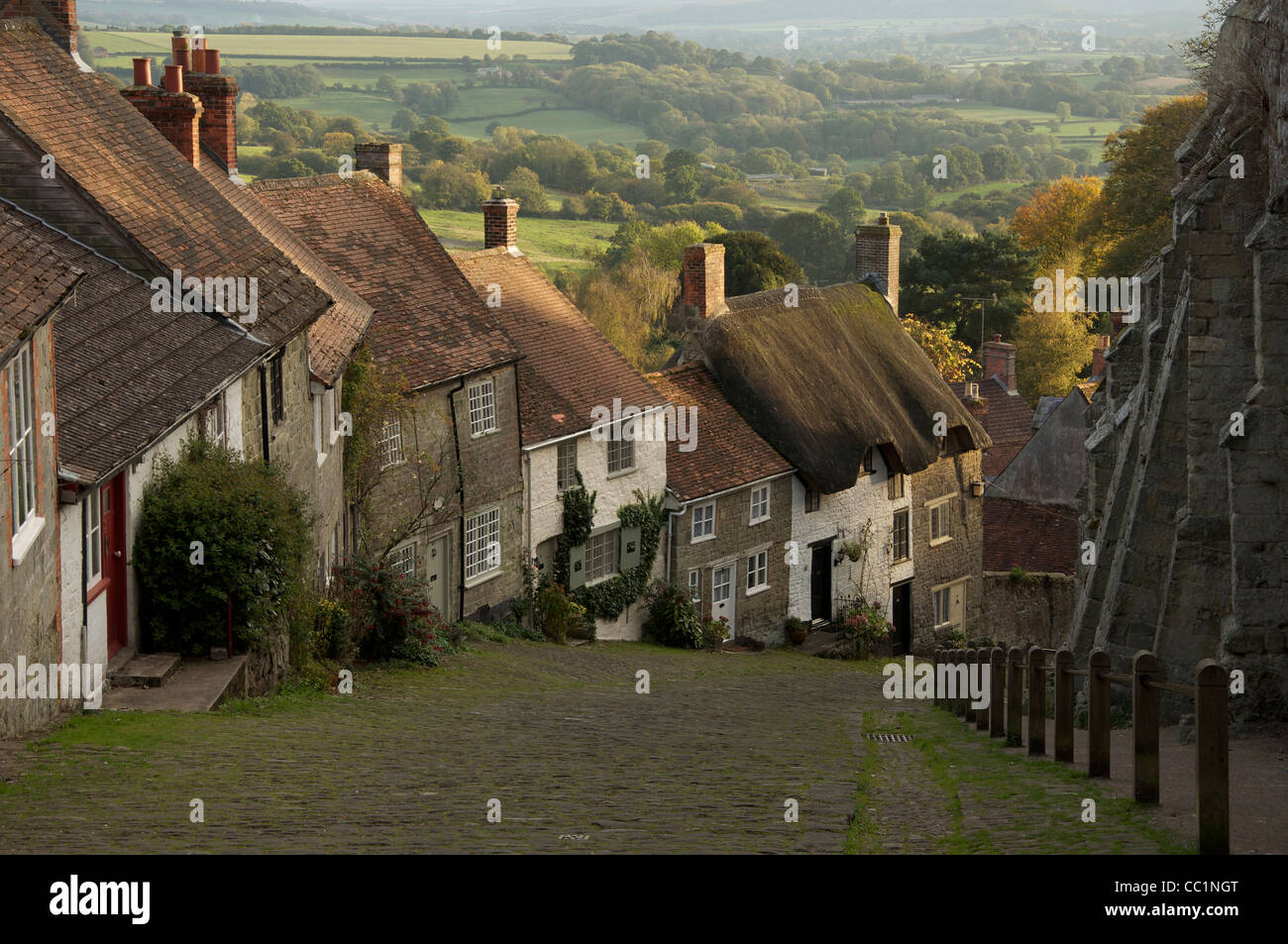 The iconic Gold Hill in Shaftesbury, immortalized in the famous TV advert for Hovis bread directed by the young - Stock Image