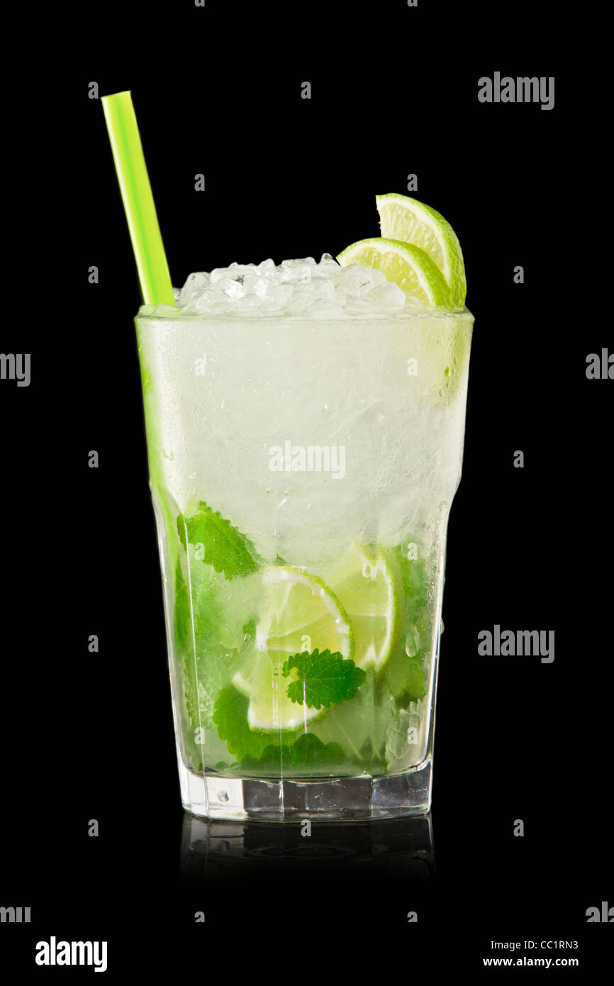 Mojito cocktail isolation on a black - Stock Image