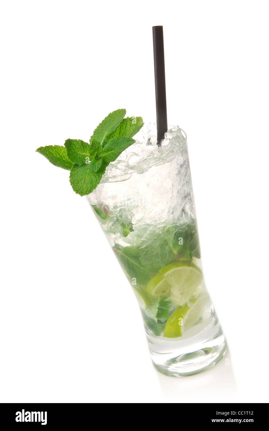 Mojito cocktail isolation on a white - Stock Image