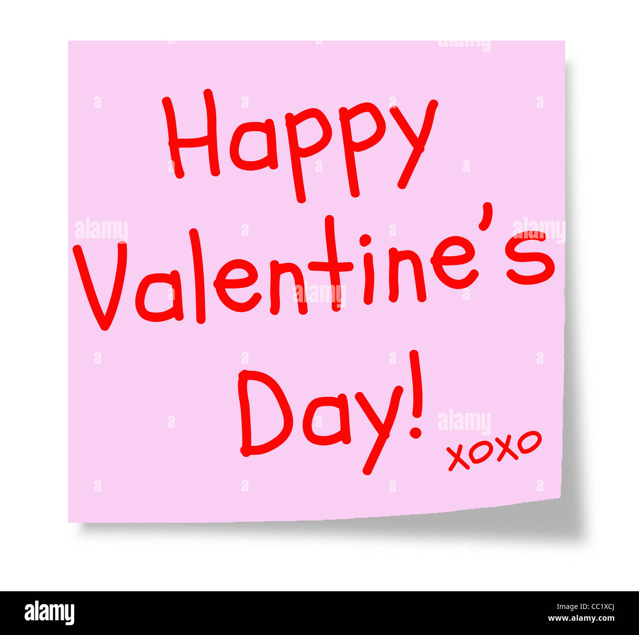 A Pink Sticky Note With The Words Happy Valentine S Day And Xoxo