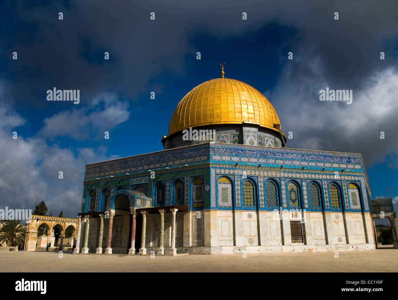 The beautiful Dome of the Rock on top of the Temple Mount in Jerusalem. Stock Photo
