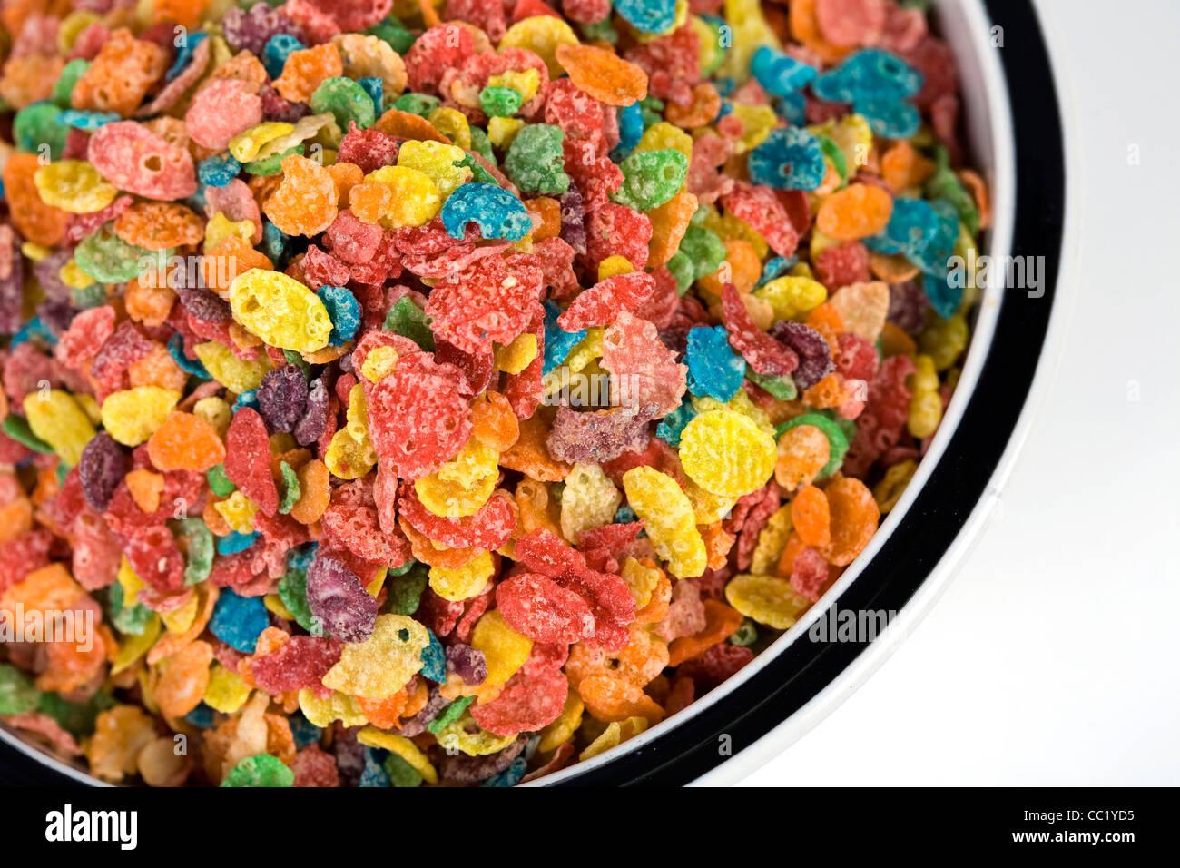 Fruity Pebbles breakfast cereal. - Stock Image