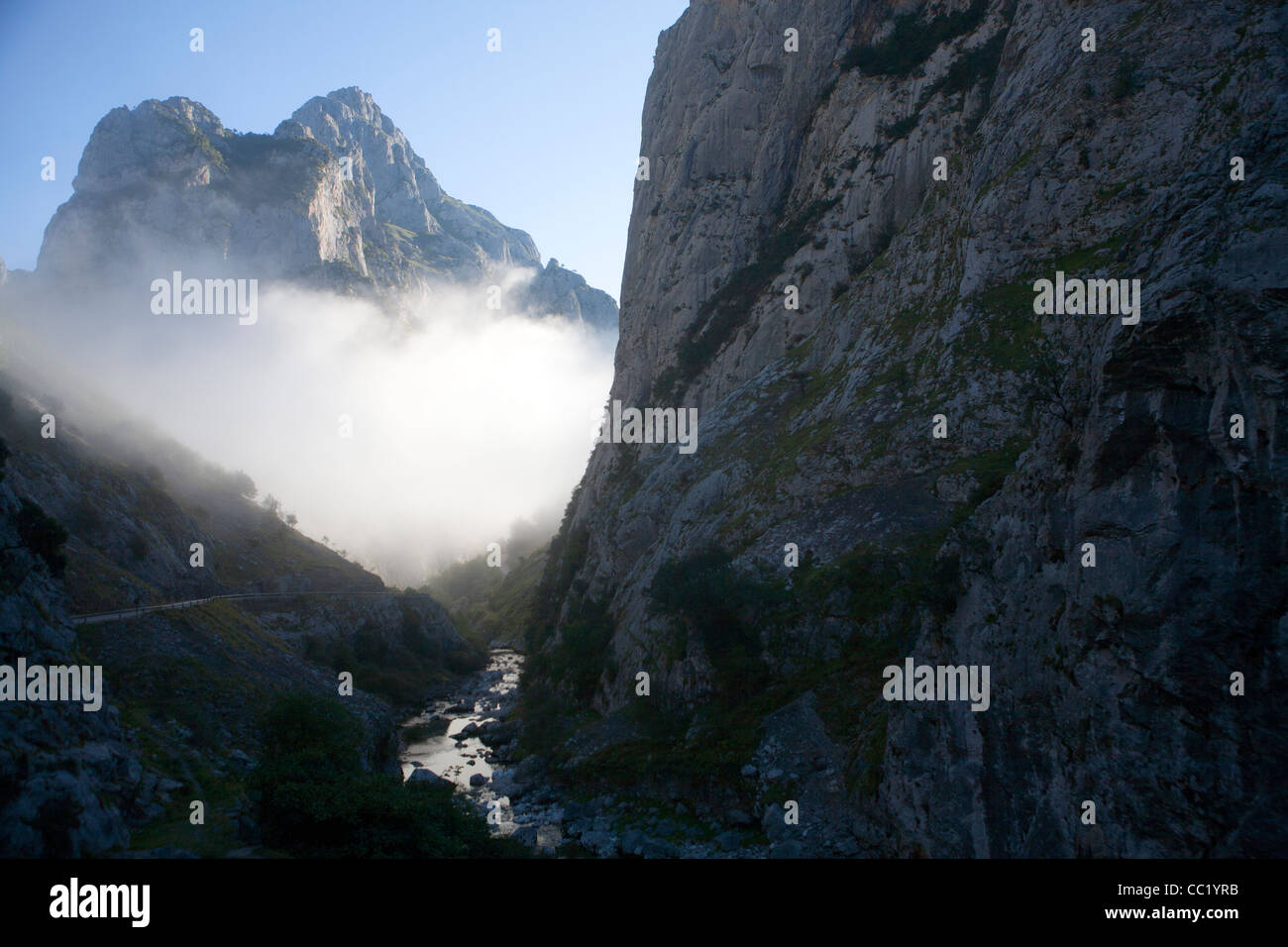 Mist at the entrance to the Garganta del Cares (Cares Gorge) - Stock Image