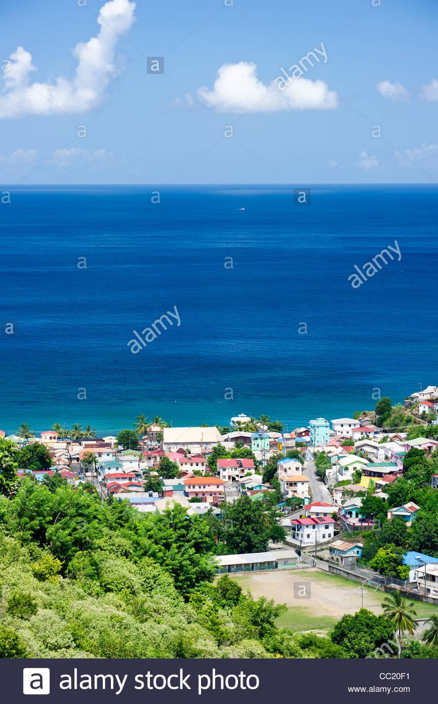 photo of Anse La Raye bay, a fishing village in St. Lucia. Stock Photo