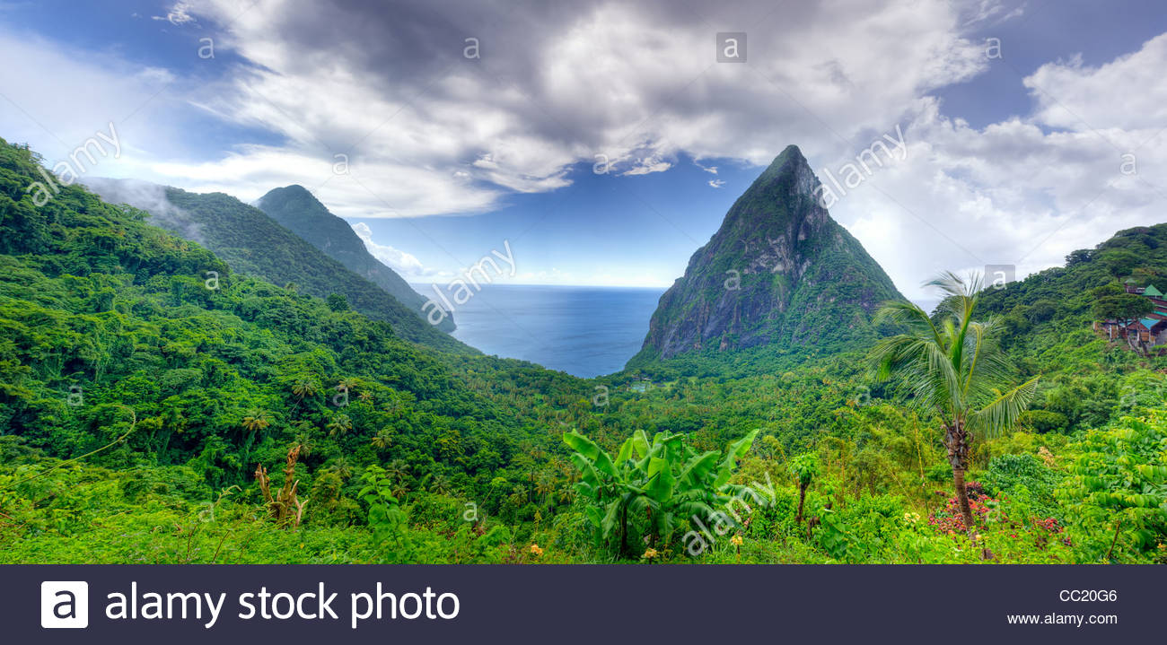 The pitons are steep volcanic mountains on St. Lucia. - Stock Image
