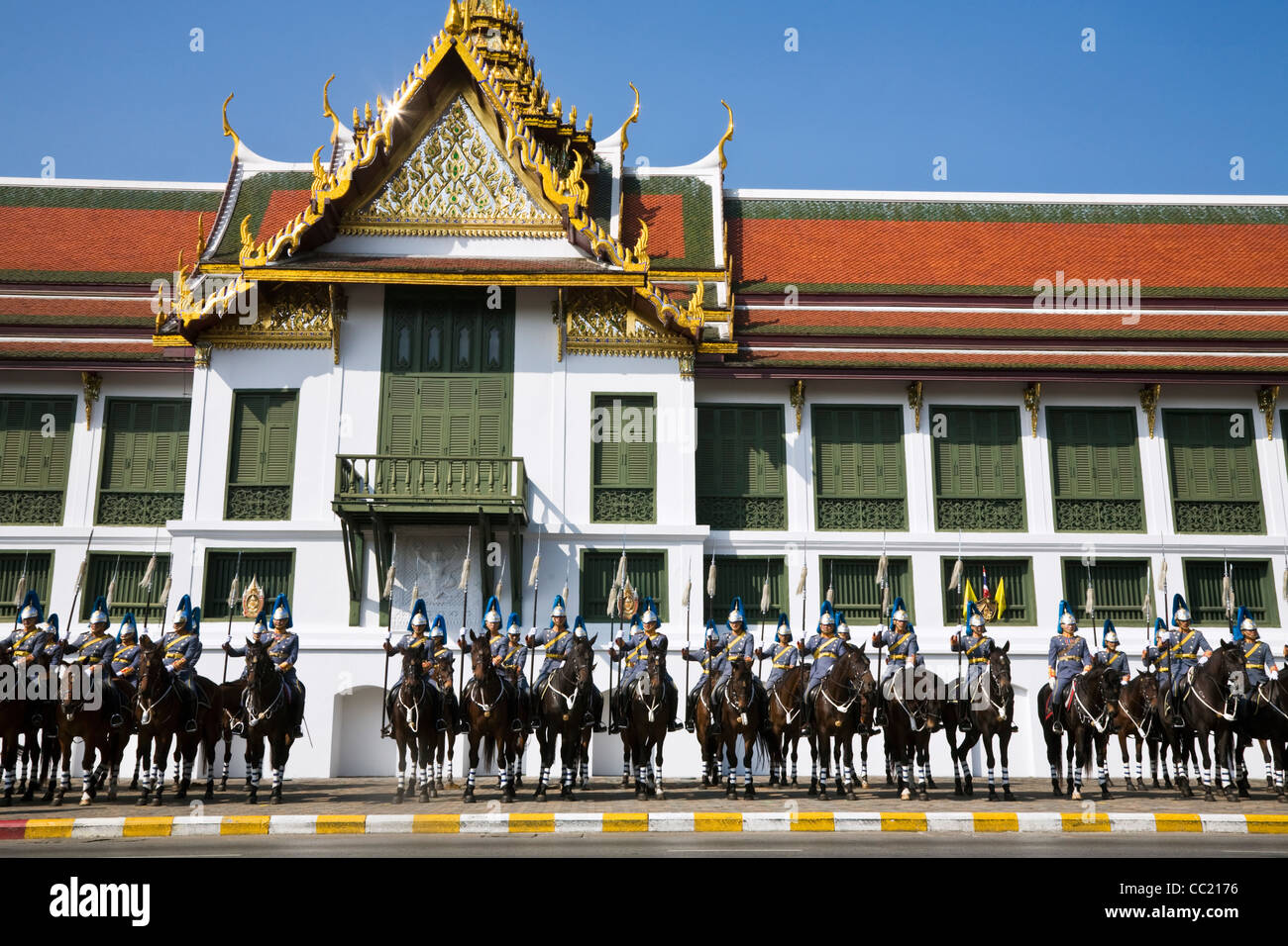 Royal Thai Cavalry at the Grand Palace during the King's 80th birthday celebrations. Bangkok, Thailand - Stock Image